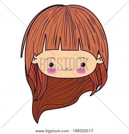 colorful caricature kawaii face little girl with long wavy hair and facial expression exhausted vector illustration
