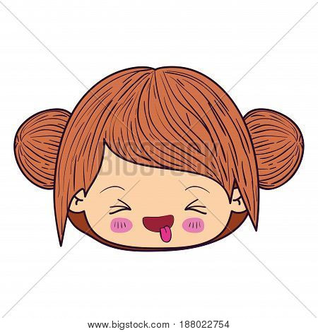 colorful caricature kawaii face little girl with long wavy hair and facial expression unpleasant vector illustration