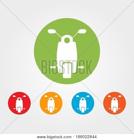 Moped or scooter flat icon - vector iIllustration