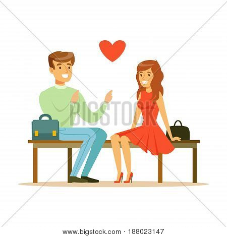 Loving couple sitting on a park bench colorful character vector Illustration isolated on a white background