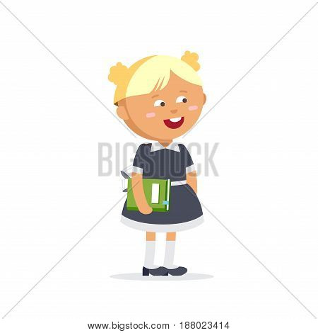 Pupil dressed in school uniforms are holding textbooks. Flat illustration of young girl. Happy kid ready come back to school.
