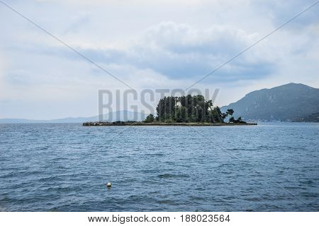 Mouse Island On Corfu, Pontikonisi Island. Corfu, Greece