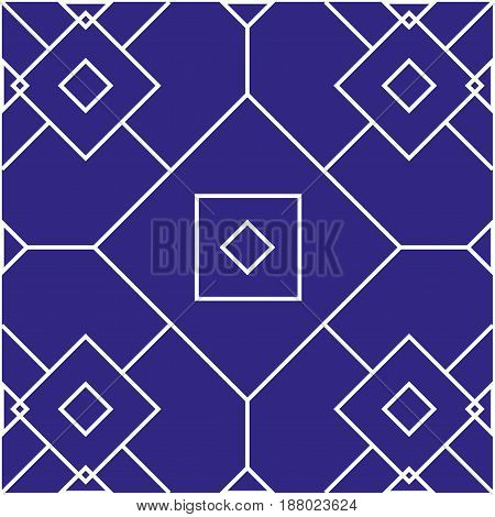seamless pattern with geometric shapes on blue background