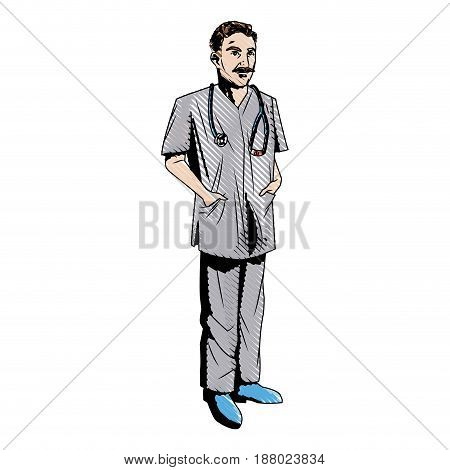 mature male doctor stethscope with arms folded vector illustration
