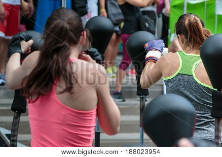 Girls in Fitness Class: Workout with Free Standing Boxing Punch Bag and Speed Ball