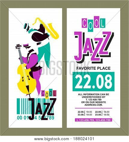 Vector illustration vintage poster music ticket for jazz festival presentation