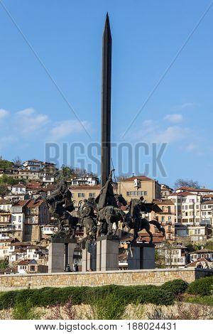 VELIKO TARNOVO, BULGARIA - 9 APRIL 2017:  Monument to the Asen Dynasty in city of Veliko Tarnovo, Bulgaria
