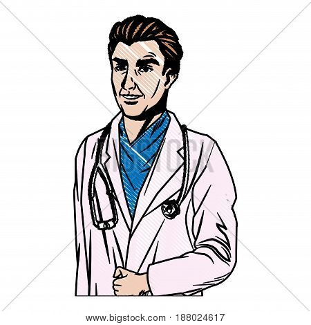 doctor man wearing coat and stethoscope medical vector illustration