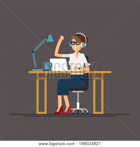 Cool vector flat character design on office business woman working in office behind her desk with laptop computer listening music wearing headphones. Business woman using computer