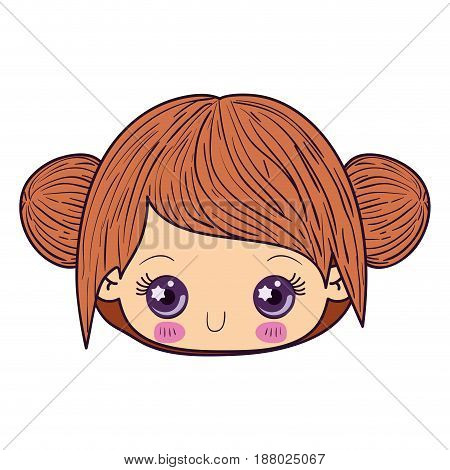 colorful caricature kawaii face little girl with collected hair cute expression vector illustration