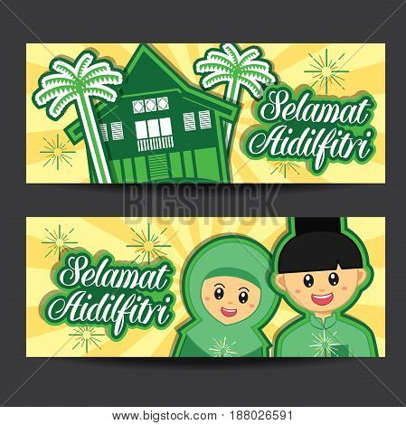 Selamat Hari Raya Aidilfitri vector illustration banner with cute muslim boy and girl and traditional malay village. Caption: Fasting Day of Celebration