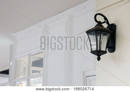 Vintage Sidewalk Lamp In Front Of Store stock photo