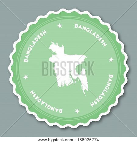 Bangladesh Sticker Flat Design. Round Flat Style Badges Of Trendy Colors With Country Map And Name.