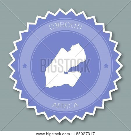 Djibouti Badge Flat Design. Round Flat Style Sticker Of Trendy Colors With Country Map And Name. Cou