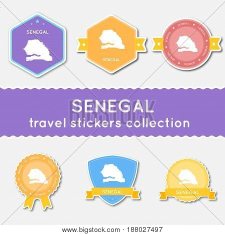 Senegal Travel Stickers Collection. Big Set Of Stickers With Country Map And Name. Flat Material Sty