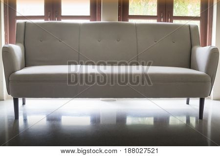 Modern Light Grey Sofa Bench stock photo