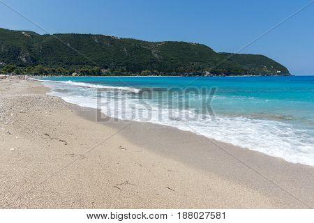 Panoramic view of Girapetra Beach with blue waters, Lefkada, Ionian Islands, Greece