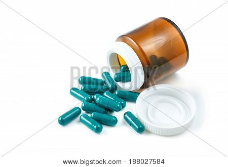 Aluminium Blister Pack Of Pills. The Capsules Are Packaged In Blisters, Isolated On A White Backgrou