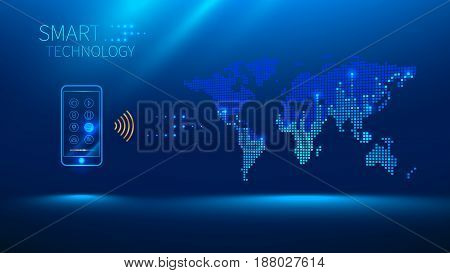 Smart phone to connect with the world. Smart phone sends and receives information from the cloud