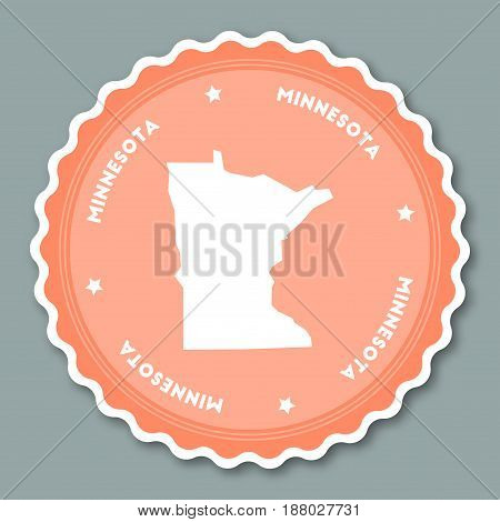 Minnesota Sticker Flat Design. Round Flat Style Badges Of Trendy Colors With The State Map And Name.