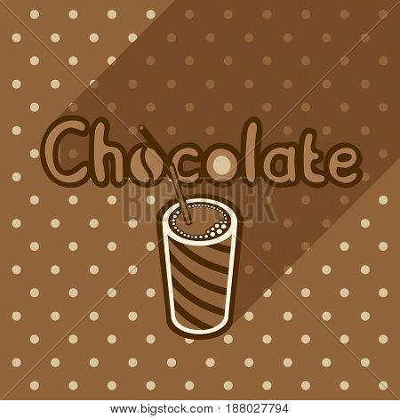 Vector poster in flat style with glass of chocolate on the background of the brown tablecloth with polka dots. Template for flyers banners invitations brochures and covers.