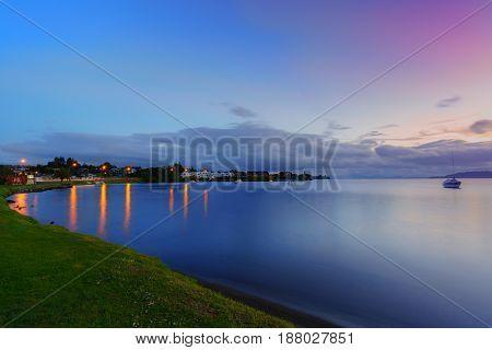 Lake Taupo at dusk North Island of New Zealand