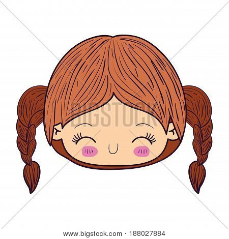 colorful caricature kawaii face little girl with braided hair and facial expression happiness with closed eyes vector illustration