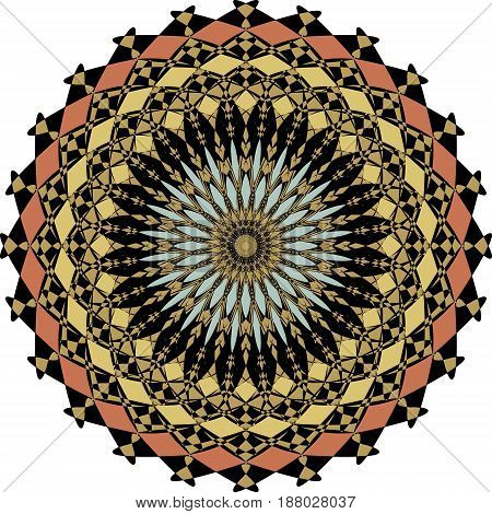 Geometric symmetric colorful rosette in art deco style with fragment elements