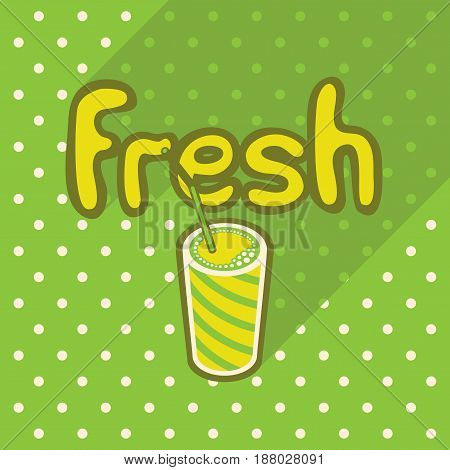 Vector poster in flat style with glass of fresh juice and straw on the background of the green tablecloth with polka dots. Template for flyers banners invitations brochures and covers.