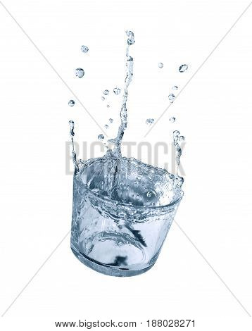 Glass of splashing water with drops on white background. Isolated with clipping path