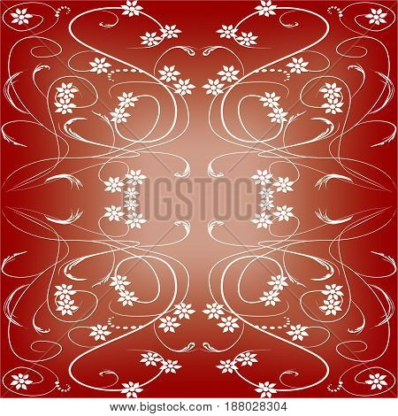 Dark red tile in art deco style with small floral patterns on gradient area