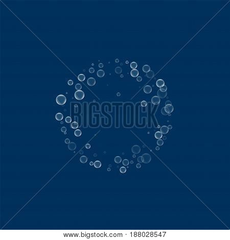 Soap Bubbles. Small Round Frame With Soap Bubbles On Deep Blue Background. Vector Illustration.