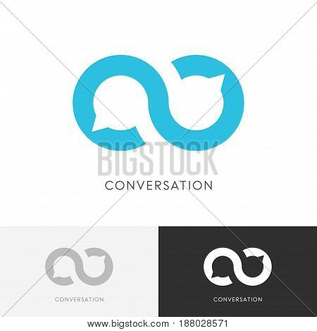 Infinity conversation logo - endless chat symbol. Dialogue, discussion and talk vector icon.