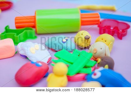 toys made of plasticine and tools developing game for children