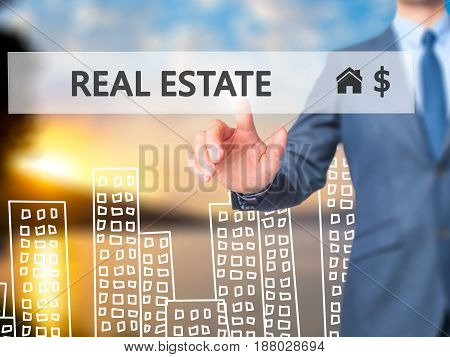 Real Estate Agent Pressing Button On Virtual Screen.