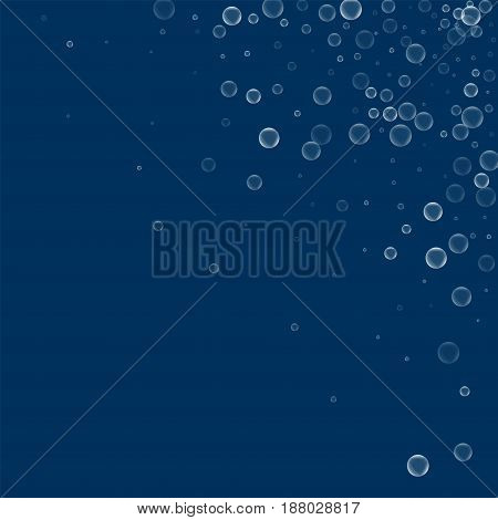 Soap Bubbles. Scattered Top Right Corner With Soap Bubbles On Deep Blue Background. Vector Illustrat