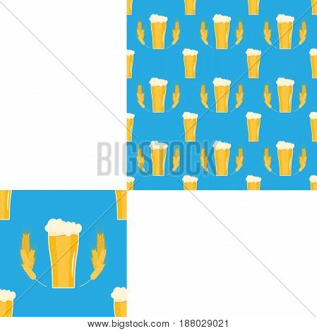 Blank of seamless pattern with goblets of beer and wheat spikelets on the blue background with pattern unit.