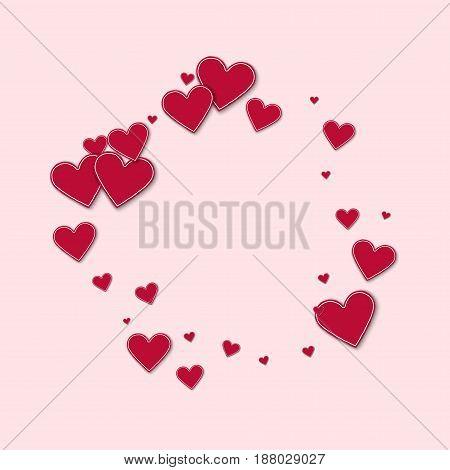 Cutout Red Paper Hearts. Bagel Frame On Light Pink Background. Vector Illustration.