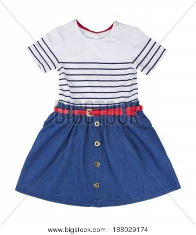 Blue summer dress for little girl isolated on white background