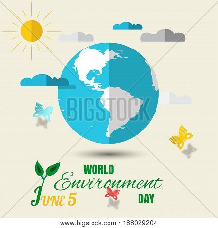 Vector World Environment Day paper craft on the light background with blue globe with shadow clouds sun butterflies and text.
