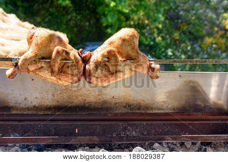 Homemade Chicken Roast On A Spit In A Barbeque In The Street
