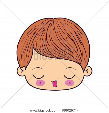 colorful caricature kawaii face little boy with funny facial expression vector illustration