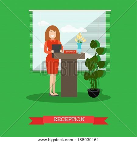 Restaurant reception concept vector illustration. Young woman receptionist standing at reception desk flat style design element.