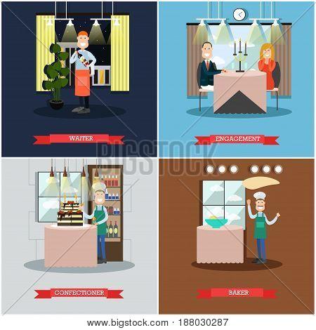 Vector set of restaurant people square posters. Waiter, Engagement, Confectioner, Baker flat style design elements.