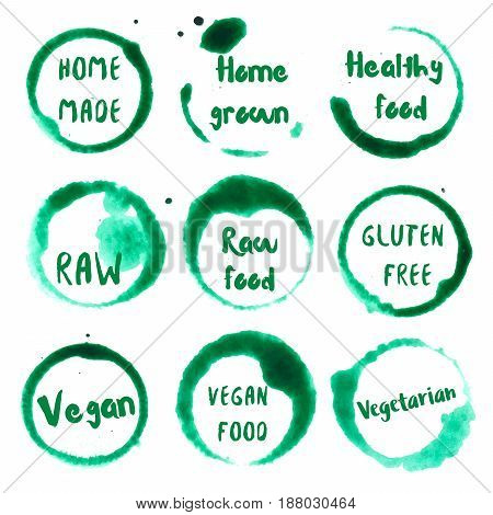 Healthy Food Collection Of Round Watercolor Stains With Home Made, Grown, Healthy Food, Gluten Free,