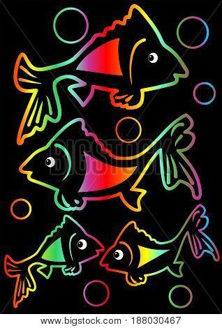 Cheerful rainbow neon tricksy fishes on black background