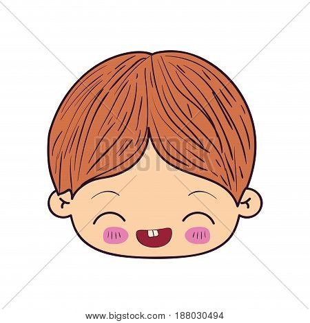 colorful caricature kawaii face little boy with facial expression laughing vector illustration