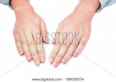 Woman Hands With Beautiful Manicure. Beautiful Hand With Perfect Nail French Manicure. Natural Manic