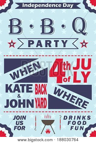 Independence Day barbecue party invitation. BBQ invitation card template design. 4th of July picnic party flyer. Vector illustration.