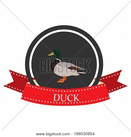duck flat icon with name in vector format